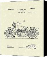 William Drawings Canvas Prints - Harley Motorcycle 1928 Patent Art Canvas Print by Prior Art Design