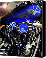 Lights Digital Art Canvas Prints - Harleys Twins Canvas Print by DigiArt Diaries by Vicky Browning