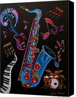 Jazz Instruments Mixed Media Canvas Prints - Harmony in Jazz Canvas Print by Bill Manson