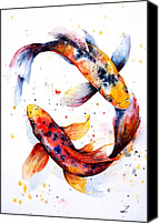 Koi Art Canvas Prints - Harmony Canvas Print by Zaira Dzhaubaeva