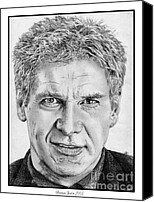 Indiana Drawings Canvas Prints - Harrison Ford in 2006 Canvas Print by J McCombie