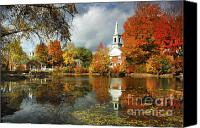New England Canvas Prints - Harrisville New Hampshire - New England Fall Landscape white steeple Canvas Print by Jon Holiday