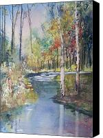 Watercolor Landscape Canvas Prints - Hartman Creek Birches Canvas Print by Ryan Radke