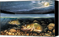 Crawfish Canvas Prints - Harvest Moon Walleye 1 Canvas Print by JQ Licensing