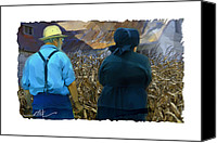 Barn Mixed Media Canvas Prints - Harvesting The Corn Canvas Print by Bob Salo
