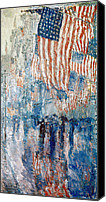 Patriotic Canvas Prints - Hassam Avenue In The Rain Canvas Print by Granger