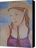 Teen Painting Canvas Prints - Hat and Shoulders Canvas Print by Jenny Armitage