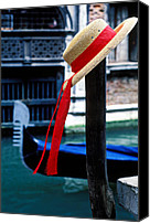 Venetian Canvas Prints - Hat on pole Venice Canvas Print by Garry Gay