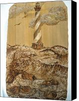Lighthouse Pyrography Canvas Prints - Hatteras and Horseshoe Crabs Canvas Print by Doris Lindsey