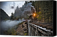 Train Canvas Prints - Hauling though the mountains Canvas Print by Patrick  Flynn
