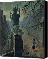 Frightening Digital Art Canvas Prints - Haunted Castle Nightmare Canvas Print by Martin Davey
