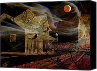 Haunted House Canvas Prints - Haunted Evening Canvas Print by Shirley Sirois