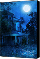 Haunted House Canvas Prints - Haunted House Full Moon Canvas Print by Jill Battaglia