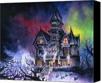 Scary Painting Canvas Prints - Haunted House Canvas Print by Ken Meyer jr