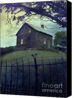 Haunted House Canvas Prints - Haunted house on a hill with grunge look Canvas Print by Sandra Cunningham
