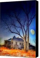 Old Houses Canvas Prints - Haunted in the Snow Canvas Print by Emily Stauring