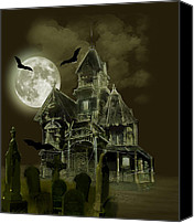 Halloween Scene Canvas Prints - Haunted mansion Canvas Print by Gina Femrite