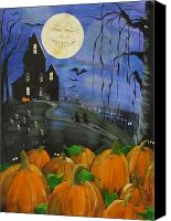 Haunted House Canvas Prints - Haunted Night Canvas Print by Sylvia Pimental