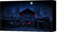 Haunted House Canvas Prints - Haunted Red Canvas Print by Emily Stauring