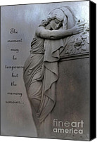 Angel Memorial Art Photo Canvas Prints - Haunting Angel Statue - Inspirational Angel Art Canvas Print by Kathy Fornal