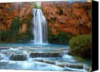 Waterfall Canvas Prints - Havasu Falls Canvas Print by David Wagner