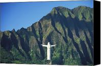 Mountain Sculpture Photo Canvas Prints - Hawaii Memorial Park Canvas Print by Peter French - Printscapes