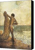 Hawaiian Vintage Art Canvas Prints - Hawaiian Fisherman Painting Canvas Print by Hawaiian Legacy Archive - Printscapes