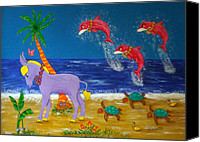 Sea Animals Mixed Media Canvas Prints - Hawaiian Lei Parade Canvas Print by Pamela Allegretto