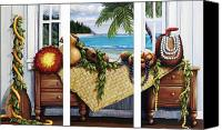 Dresser Canvas Prints - Hawaiian Still Life with Haleiwa on My Mind Canvas Print by Sandra Blazel - Printscapes