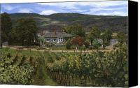 Vineyard  Canvas Prints - Hawthorn vineyard in British Columbia-Canada Canvas Print by Guido Borelli