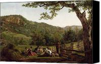 Fresco Canvas Prints - Haymakers Picnicking in a Field Canvas Print by Jean Louis De Marne