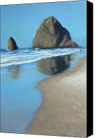 Oregon Coast Pastels Canvas Prints - Haystack Rock Canvas Print by LaDonna Kruger