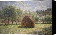 Impressionism Canvas Prints - Haystacks at Giverny Canvas Print by Claude Monet