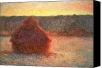 Rural Scenes Canvas Prints - Haystacks at Sunset Canvas Print by Claude Monet