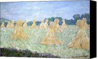 Signed Canvas Prints - Haystacks The young Ladies of Giverny Sun Effect Canvas Print by Claude Monet