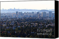 Skylines Canvas Prints - Hazy San Francisco Skyline Viewed Through The Oakland Skyline . 7D11341 Canvas Print by Wingsdomain Art and Photography