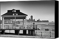 Beach Photos Canvas Prints - HDR Beach Boardwalk Photos Pictures Art Sea Ocean Photograph Scenic Landscape Black White Canvas Print by Pictures HDR