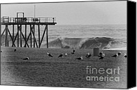 Beaches Canvas Prints - HDR Black White Beach Beaches Ocean Sea Seaview Waves Pier Photos Pictures Photographs Photo Picture Canvas Print by Pictures HDR