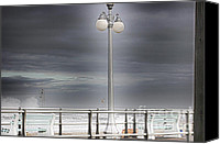 Beach Photos Canvas Prints - HDR Lamp Post Beach Beaches Boardwalk Ocean Sea Effect Photos Pictures Photo Picture Photography New Canvas Print by Pictures HDR
