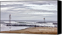 Beach Pictures Canvas Prints - HDR Two Light Towers Beach Beaches Ocean Sea Seaview Oceanview Photos Pictures Photography Photo Pic Canvas Print by Pictures HDR