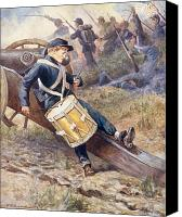 Signed Canvas Prints - He crawled behind a cannon and pale and paler grew Canvas Print by William Henry Charles Groome
