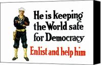 Us Navy Canvas Prints - He Is Keeping The World Safe For Democracy Canvas Print by War Is Hell Store