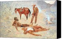 Pioneers Painting Canvas Prints - He Lay Where he had Been Jerked Still as a Log  Canvas Print by Frederic Remington