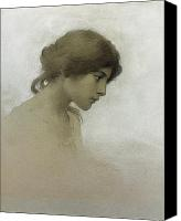 Posing Drawings Canvas Prints - Head of a Girl  Canvas Print by Franz Dvorak