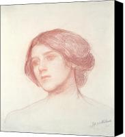 William Drawings Canvas Prints - Head of a Girl Canvas Print by John William Waterhouse