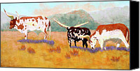 Cattle Pastels Canvas Prints - Headed for the Barn Canvas Print by Nancy Jolley