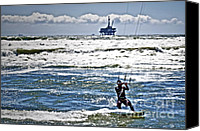 Beach  Wind Surfing Canvas Prints - Heading Back Out Canvas Print by Gwyn Newcombe