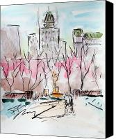 Landscapes Drawings Canvas Prints - Heading back to The Plaza Canvas Print by Chris Coyne