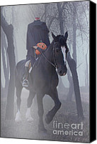 Horseback Canvas Prints - Headless Horseman Canvas Print by Christine Till
