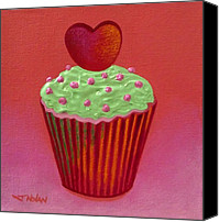 Cupcake Canvas Canvas Prints - Heart Cupcake  Canvas Print by John  Nolan